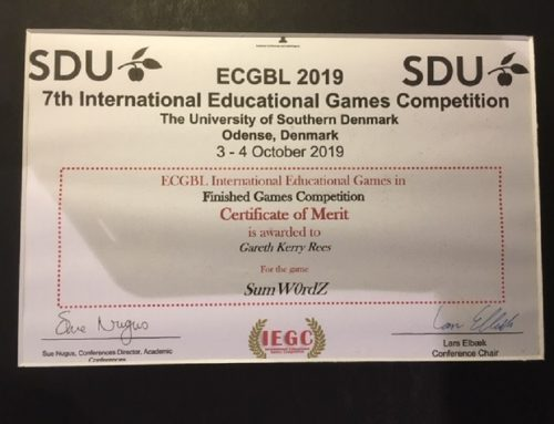 SumW0rdZ gets a Prize at 7th International Games Based Learning Competition